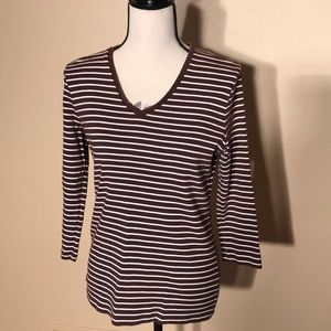 Jones New York brown striped 3/4th length shirt